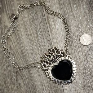 Rock Rebel Jewelry - Large Black Sacred Heart Necklace